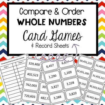4th and 5th Grade Compairing Numbers Game and Record Sheet