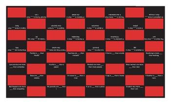 Comparative Adjectives Checker Board Game