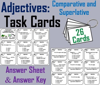 Comparative and Superlative Adjectives Task Cards 2nd 3rd