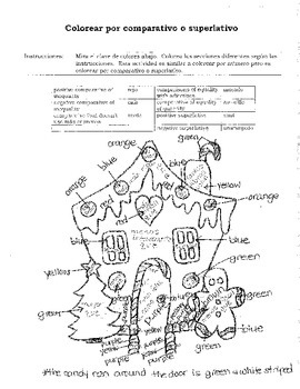 Comparatives and Superlatives Coloring Answer Sheet