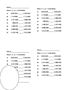 Compare 6 and 7 Digit Numbers 7 Problems Place < and >   4