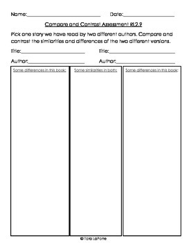 Compare & Contrast Assessment RL2.9