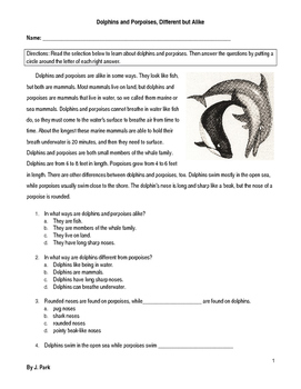 Compare/Contrast Dolphins & Porpoises - 8 Multiple Choice