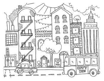 Compare & Contrast: city - country drawings with venn diag