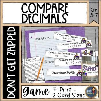 Compare Decimals ZAP Math Game