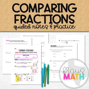 Compare Fractions using the Butterfly Method Notes and Practice