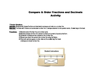 Compare & Order Fractions and Decimals Numberline Activity