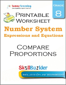 Compare Proportions Printable Worksheet, Grade 8