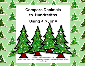 Compare Two Decimals to Hundredths-Using < ,>, or = Task C