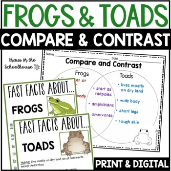 Compare and Contrast Frogs and Toads - Reading Comprehensi