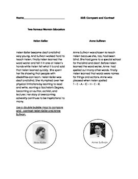 Compare and Contrast Helen Keller and Anne Sullivan (FREEBIE)