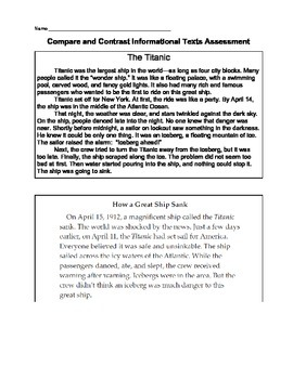 Compare and Contrast Informational Texts Assessment CCSS RI3.9