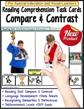 Compare and Contrast LARGE Task Cards for Special Educatio