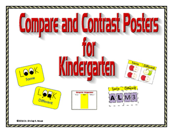 Compare and Contrast Signs for Kindergarten