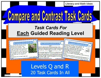 Compare and Contrast Task Cards For Each Guided Reading Le