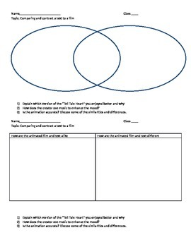 Compare and Contrast Worksheet (Tell Tale Heart Text Vs An