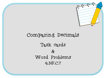 Compare and Order Decimals: Tenths & Hundredths TASK CARDS