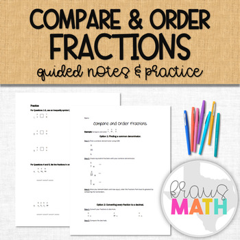 Compare and Order Fractions Notes