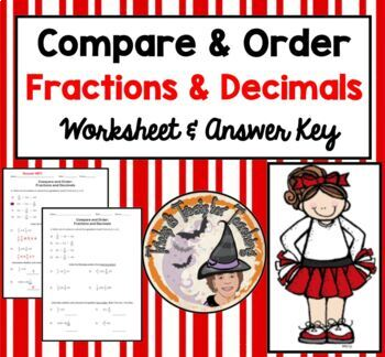 Compare and Order Fractions and Decimals Practice Workshee
