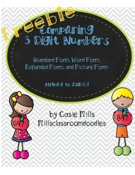 Comparing 3 Digit Numbers : 2.NBT.4 Freebie