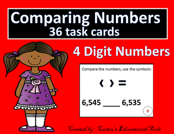 Comparing 4 digit numbers task cards