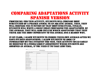 Comparing Adaptations Spanish Version