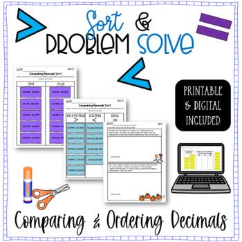 Comparing Decimals Sort and Solve {5.NBT.A.3.B - Math Sorts}