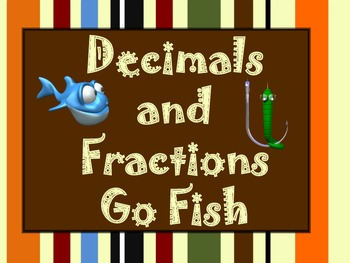 Comparing Decimals and Fractions Math Game - Memory and Go Fish!