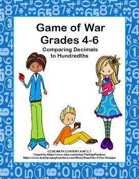 Comparing Decimals to Hundredths- Game of War- Grades 4-6- CCSS