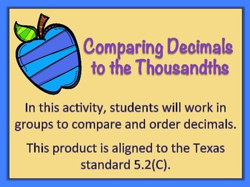 Comparing Decimals to the Thousandths Cards