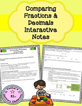 Fractions & Decimals Comparisons Interactive Notes