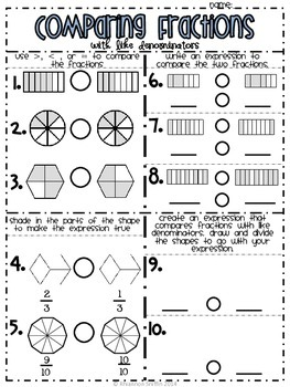 Common Worksheets » Comparing Fractions With Pictures - Preschool ...