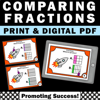 Comparing Fractions with Visual Models Task Cards 3rd Grad
