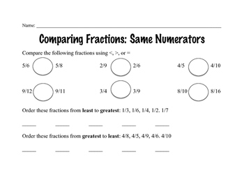 Comparing Fractions: Same Numerators