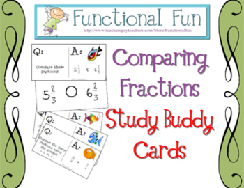 Comparing Fractions Study Buddy Cards