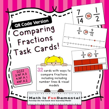 Comparing Fractions Task Cards - QR Code Version - 4 ways