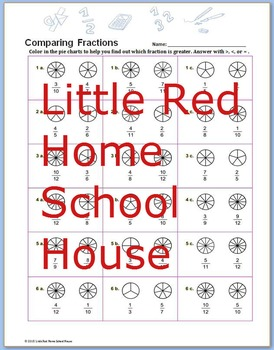 Comparing Fractions Pie Chart Worksheet with Answer Key fo