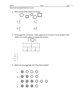 Comparing Fractions test prep questions