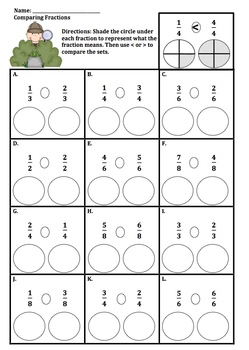 comparing fractions with like denominators worksheet - Termolak