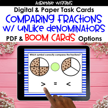 Comparing Fractions with Unlike Denominators Task Cards