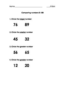 Comparing Numbers 0-100 Quick assessment