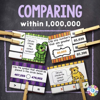 Comparing Numbers Task Cards: Comparing Whole Numbers With