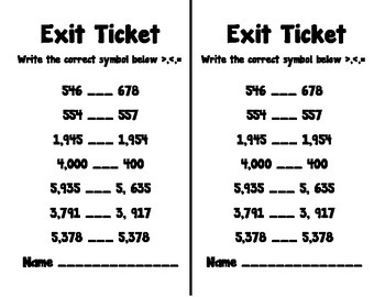 Comparing Numbers Exit Ticket