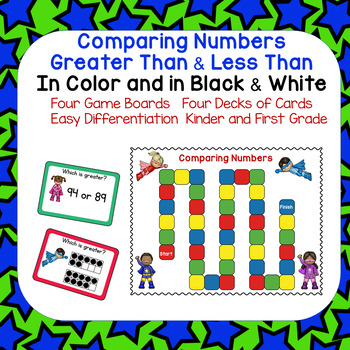 Comparing Numbers Greater Than and Less Than Super Hero Theme