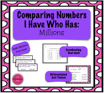 Comparing Numbers Game - I Have Who Has - Millions period