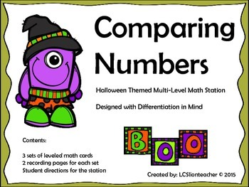 Comparing Numbers Halloween Math Station Designed with Dif