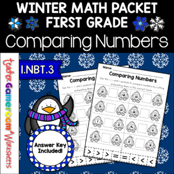 Comparing Numbers Penguin Theme  A Cut and Paste Activity-