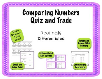 Comparing Numbers Game - Quiz and Trade - Decimals