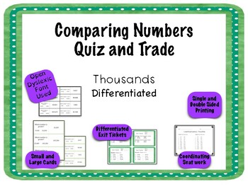 Comparing Numbers Game - Quiz and Trade Thousands Period