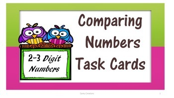 Comparing Numbers Task Cards (2-3 Digit Numbers)